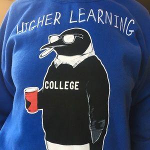 "Sweatshirt- college fun ""higher learning"" penguin"